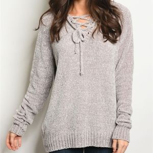 OH SO SOFT & PLUSH Grey sweater tunic knit top.